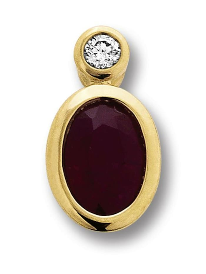One Element Damen Schmuck Anhänger aus 585 Gelbgold mit 0,02 ct Diamant Rubin, gold
