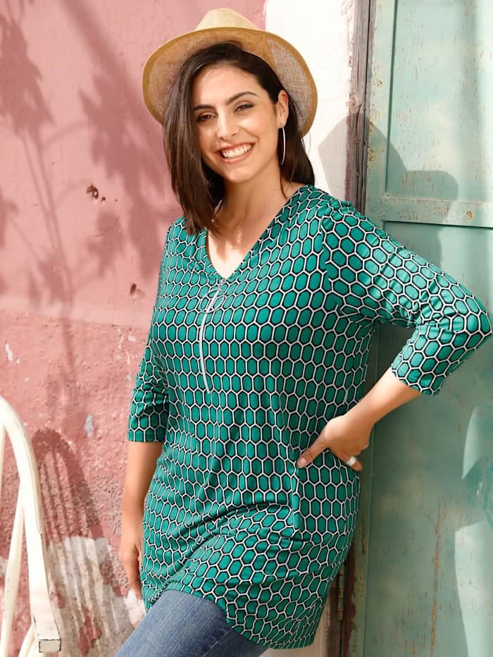 MIAMODA Longshirt met grafisch dessin, Groen/Zwart/Wit