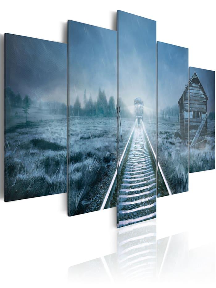 artgeist Wandbild Letzte Station, Weiß,Grau,Dunkelblau