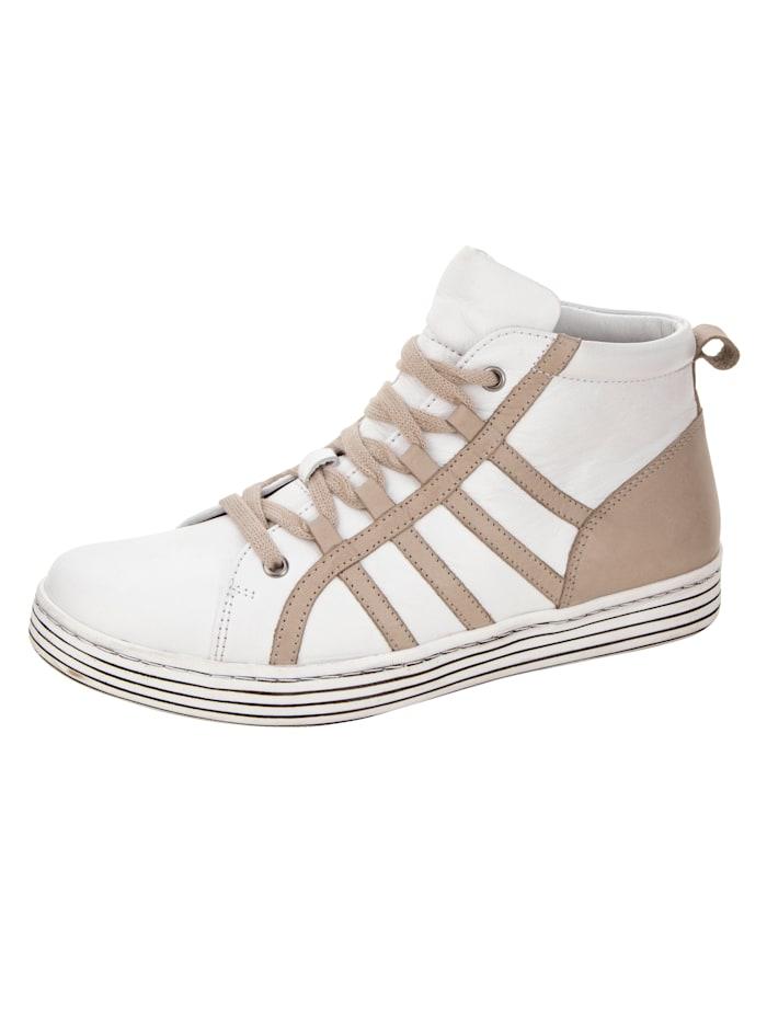Gemini High-Sneaker mit Streifendesign, Weiß/Stein