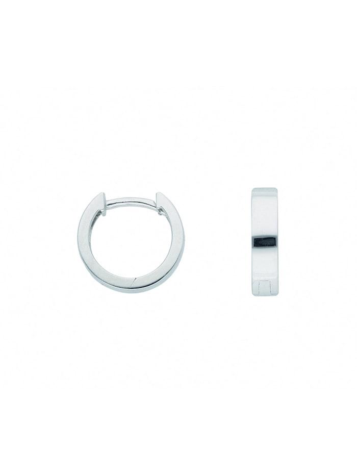1001 Diamonds Damen Weißgoldschmuck 585 Weißgold Ohrringe / Creolen Ø 11,7 mm, silber