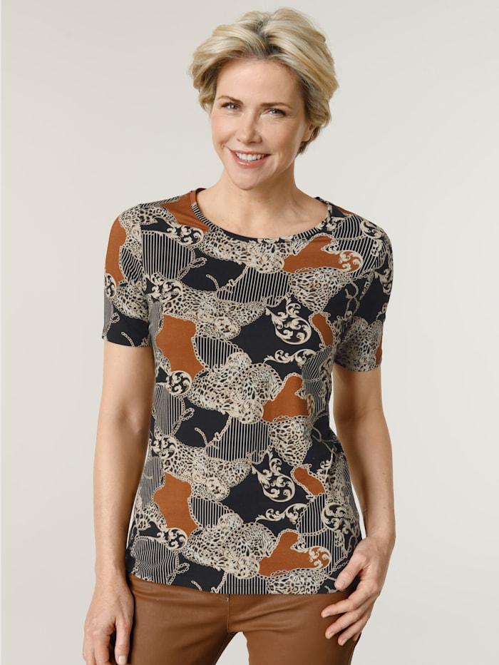 MONA Shirt im exclusivem Dessinmix, Schwarz/Cognac/Beige