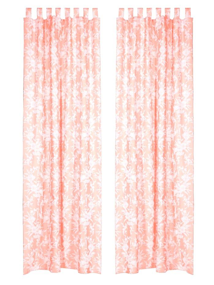 IMPRESSIONEN living Vorhang-Set, 2-tlg., pfirischfarben/weiß