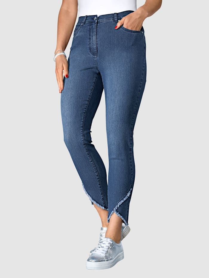 MIAMODA Jeans mit asymmetrischem Fransenabschluss, Blue stone