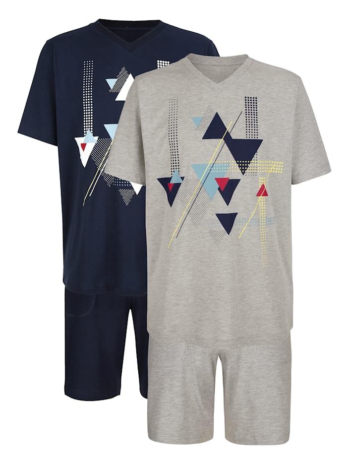 Lot de 2 pyjashorts, Gris clair/Marine
