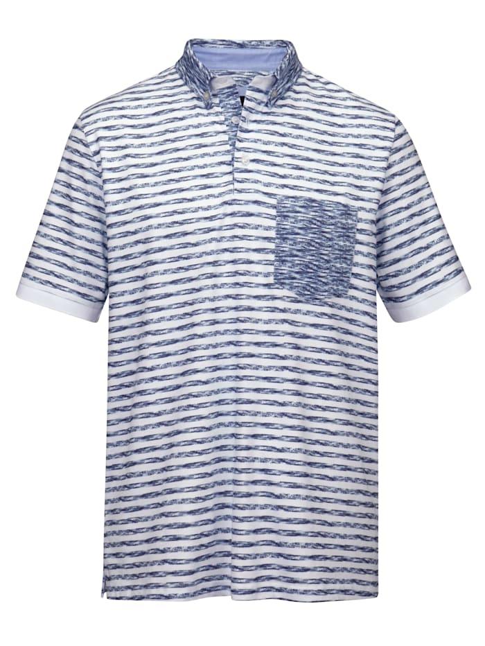 BABISTA Poloshirt met borstzak, Wit/Blauw