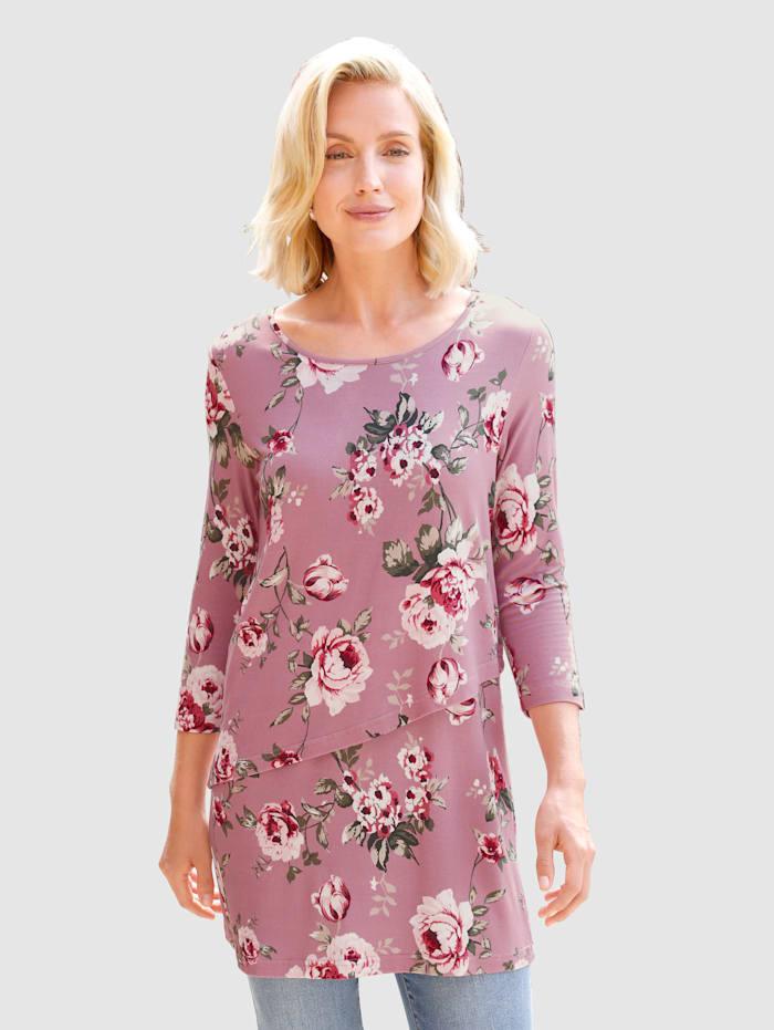 Paola Shirt im modischen Lagenlook, Altrosa
