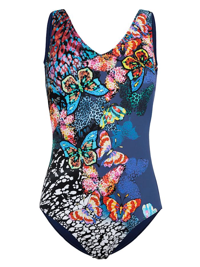 Maritim Badeanzug mit hübschem Schmetterling-Druck, rauchblau/schwarz/weiß