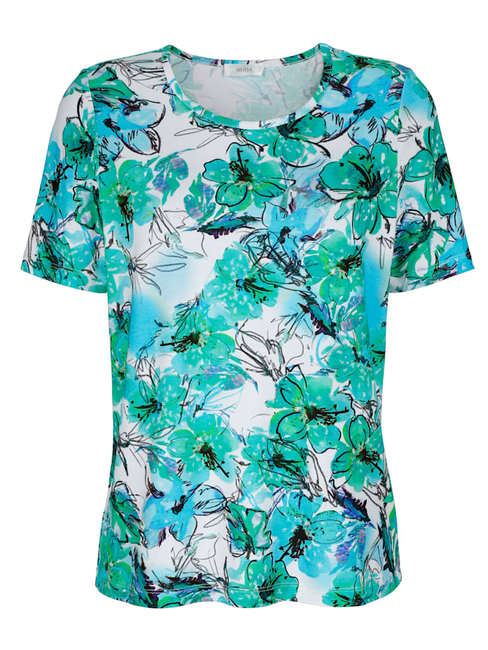 MONA Top with floral print, Green/Turquoise/White
