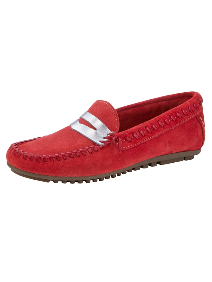 Moccasins Made from premium-quality leather, Red