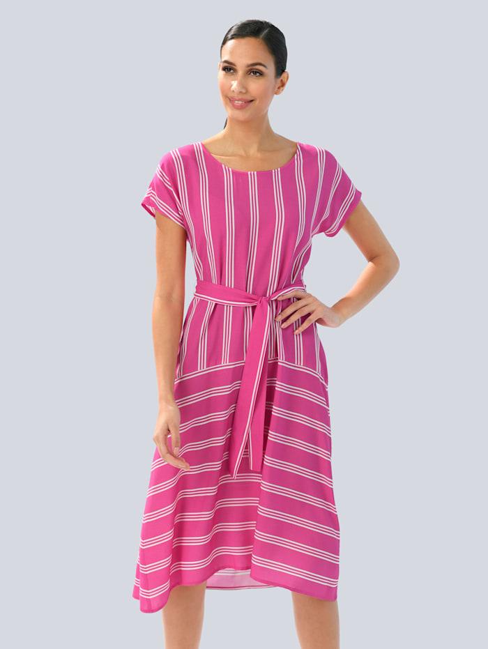 Alba Moda Kleid im modischen Streifendessin, Pink/Weiß