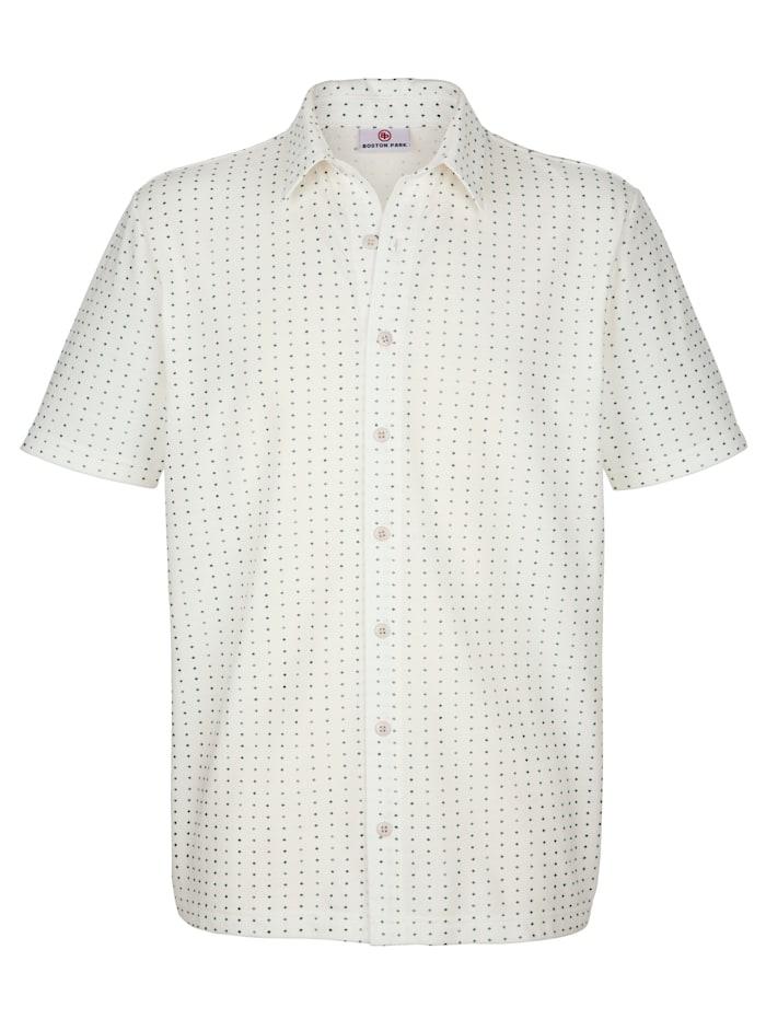 Boston Park Jerseyhemd mit durchgehender Knopfleiste, Ecru/Marineblau