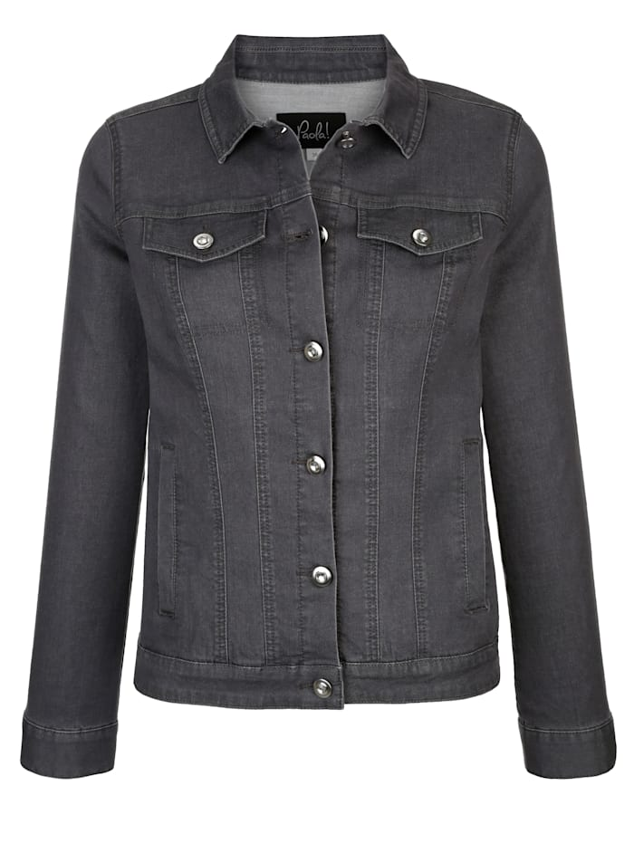 Paola Denim jacket with rhinestoned buttons, Grey