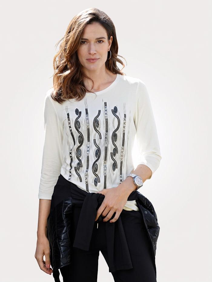 MONA T-shirt à imprimé placé, Blanc/Noir
