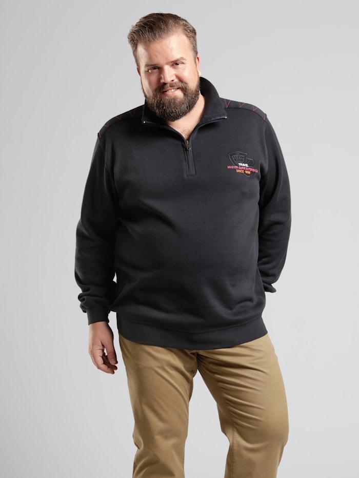 Men Plus Sweatshirt Spezialschnitt, Oliv/Schwarz