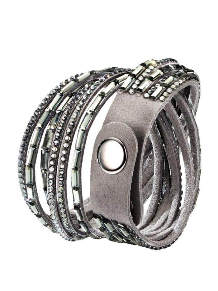 KLiNGEL Wickelarmband mit Kristallen, Grau