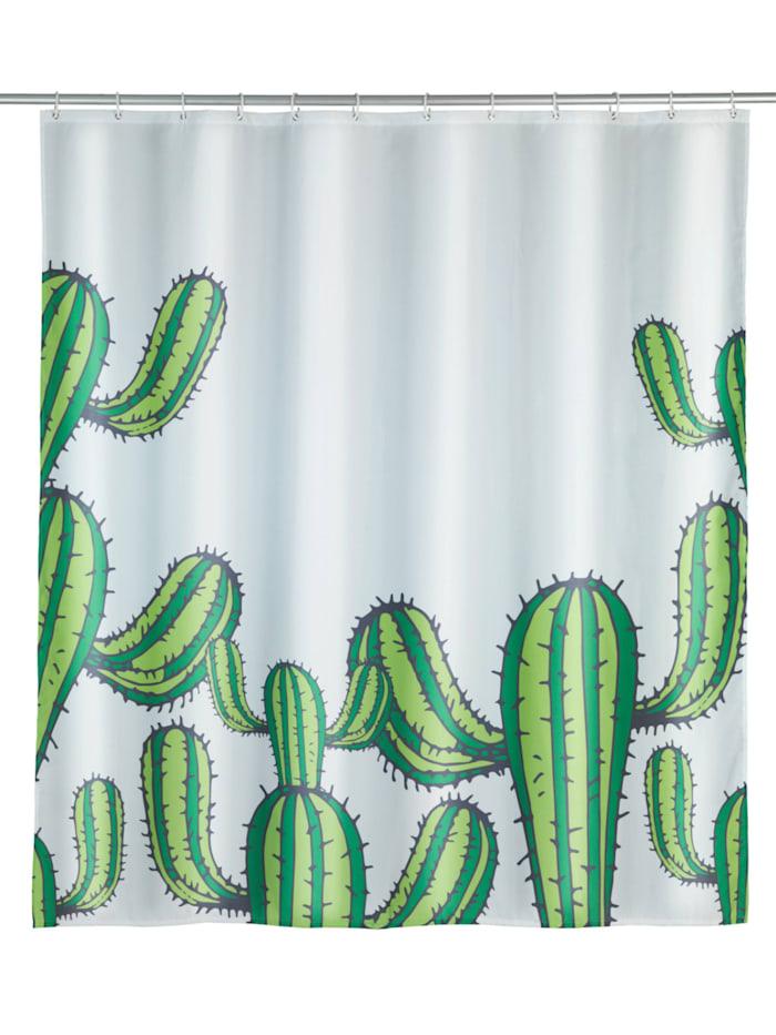 Wenko Duschvorhang Cactus, Textil (Polyester), 180 x 200 cm, waschbar, Mehrfarbig