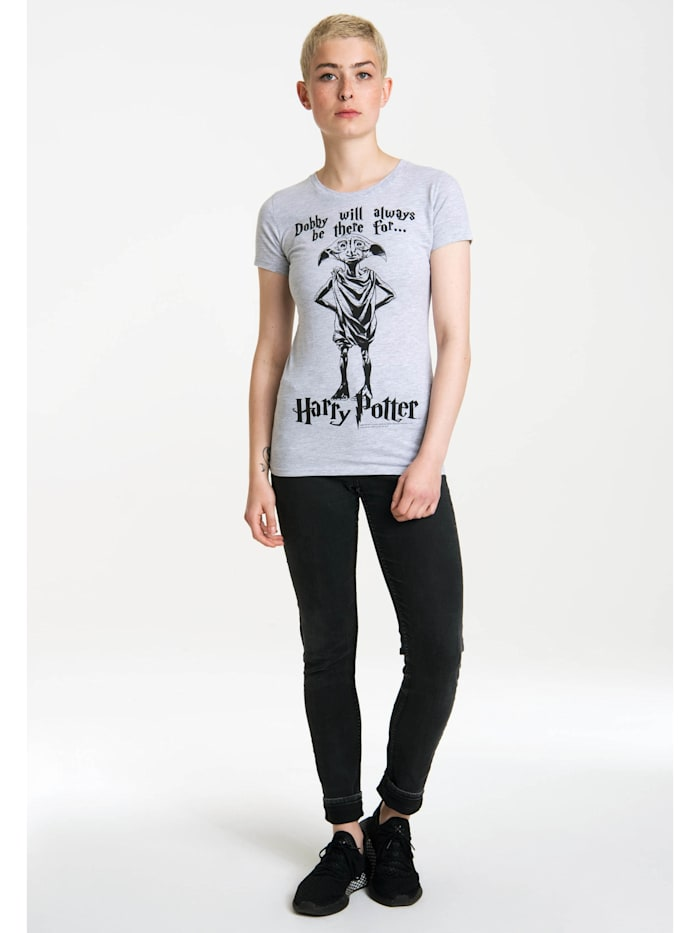 Logoshirt T-Shirt Dobby Will Always Be There For mit niedlichem Frontdruck, grau-meliert