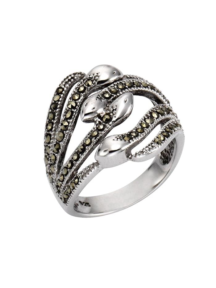 Ring 925/- Sterling Silber Markasit schwarz Rhodiniert 925/- Sterling Silber