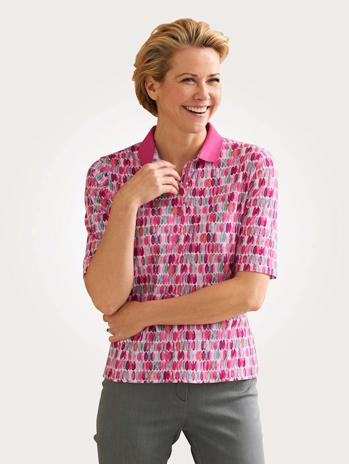 Rabe Polo Shirt with a graphic print, Rosé/Grey
