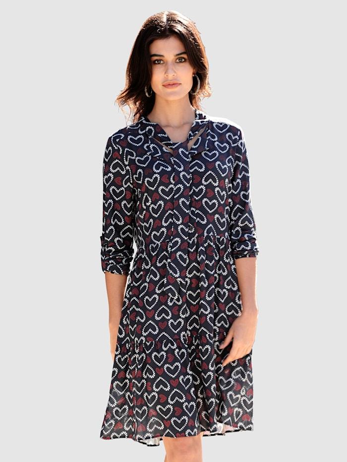 Alba Moda Kleid im exklusiven Dessin von Alba Moda, Marineblau/Rot/Weiß