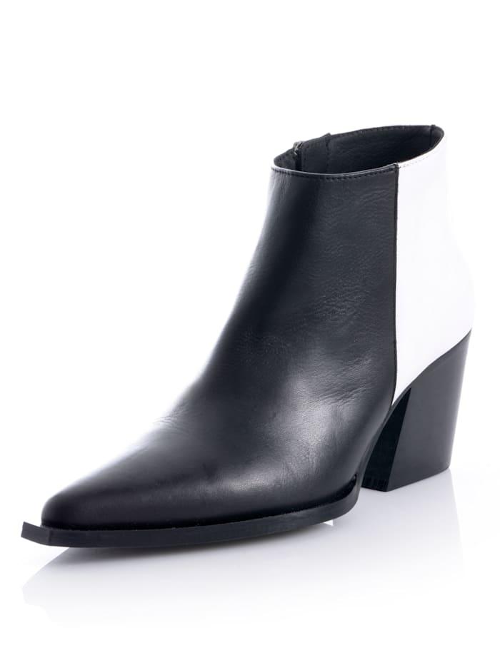 Alba Moda Low boots d'esprit cow-boy, Noir/Blanc