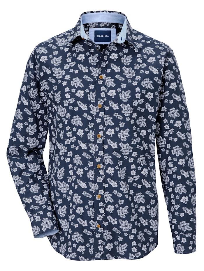 BABISTA Mönstrad skjorta med enfärgade detaljer, Blå/Vit