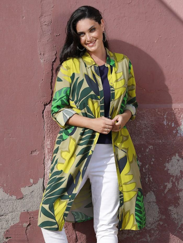 MIAMODA Lang bluse med jungeltrykk, Grønn/Gul