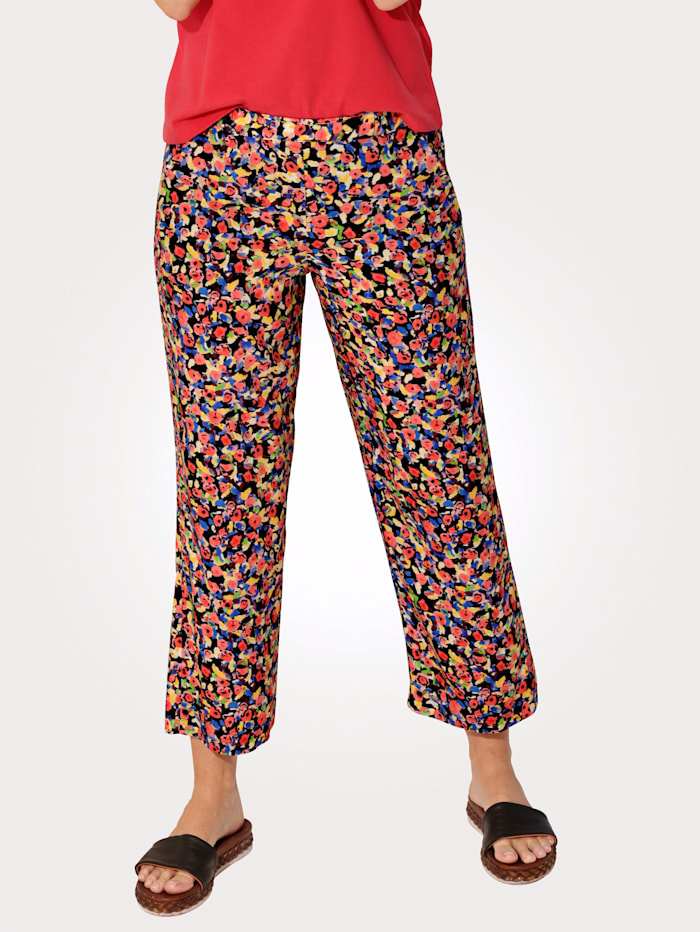 MONA Cropped pull-on trousers with a floral print, Green/Yellow/Coral