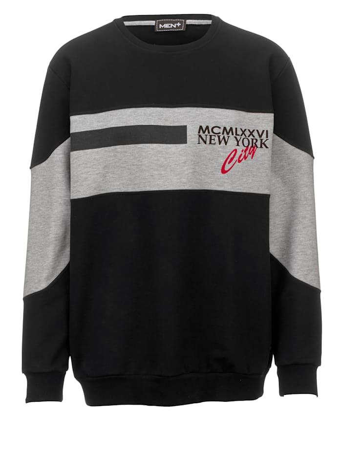 Men Plus Sweatshirt aus reiner Baumwolle, Schwarz/Hellgrau/Marineblau