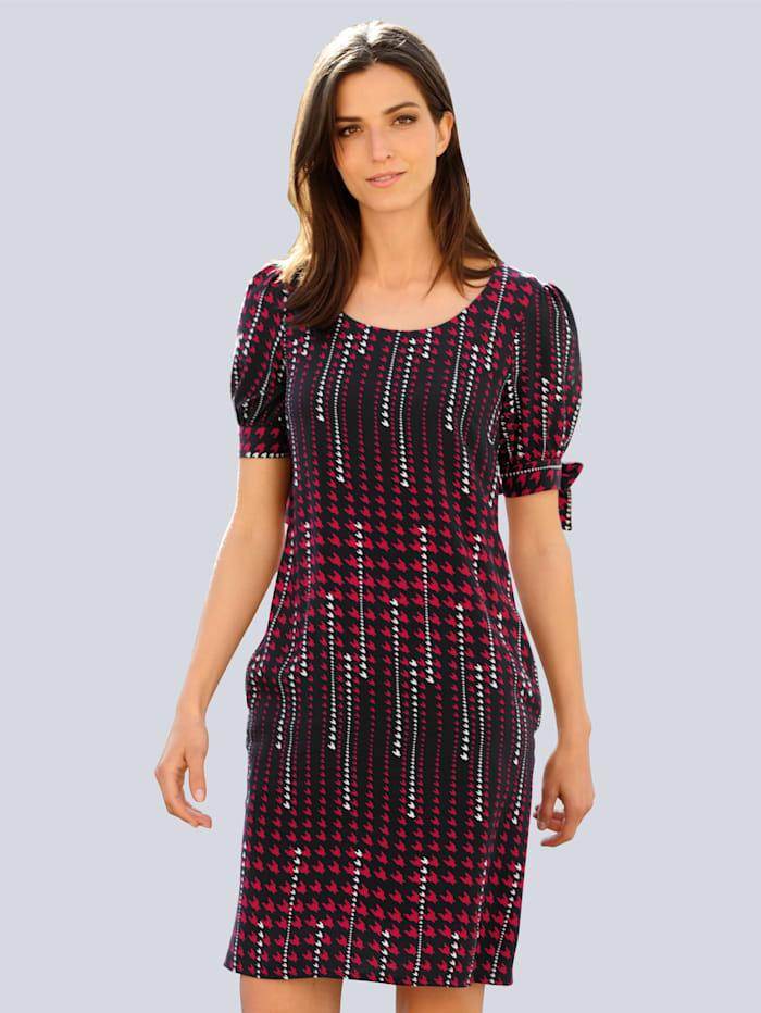 Alba Moda Kleid im exklusivem Dessin von Alba Moda, Marineblau/Rot/Weiß