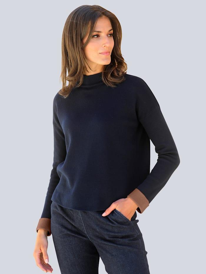 Alba Moda Pullover im Doppeljacquard-Strick, Marineblau/Cognac