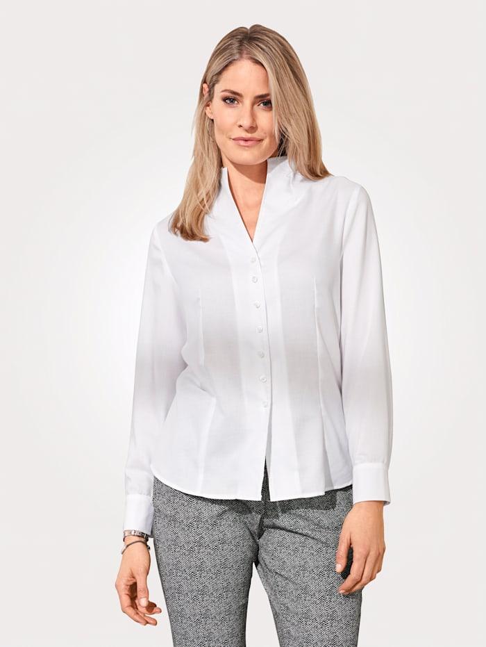 MONA Bluse mit raffiniertem Stehkragen, Weiß