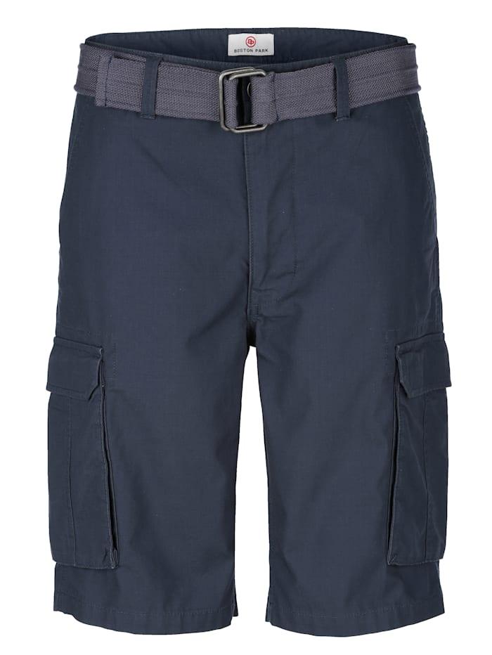 Boston Park Shorts med skärp, Marinblå