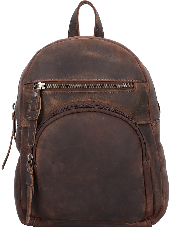 Greenburry Vintage Revival City Rucksack Leder 26 cm, tobacco