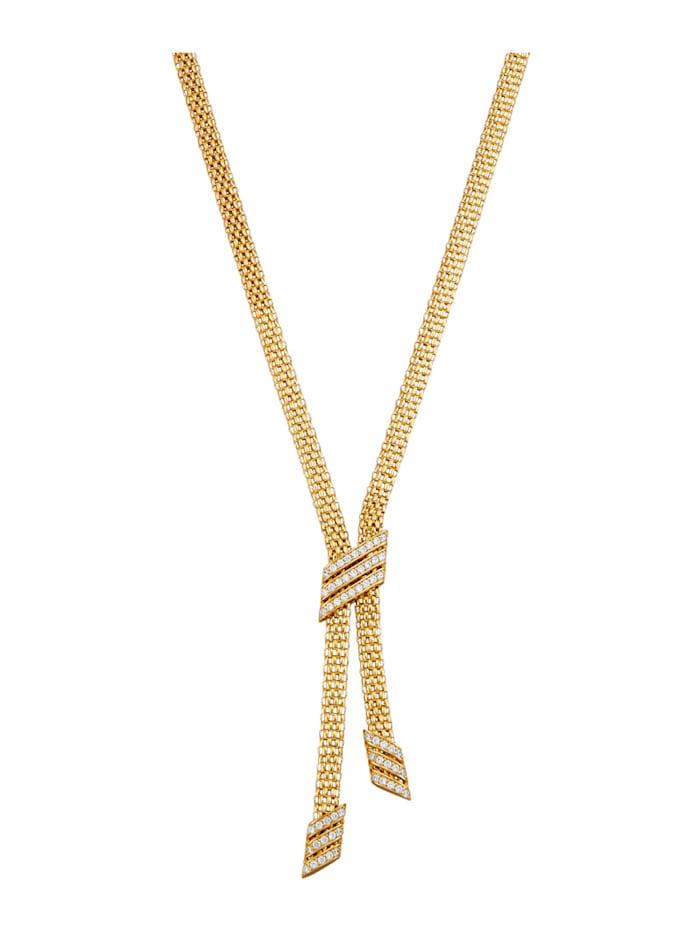 Diemer Trend Y-Collier in Silber 925, vergoldet, Gelbgoldfarben