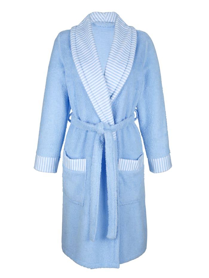 MONA Bademantel mit gestreiften Blenden, Weiß/Blau
