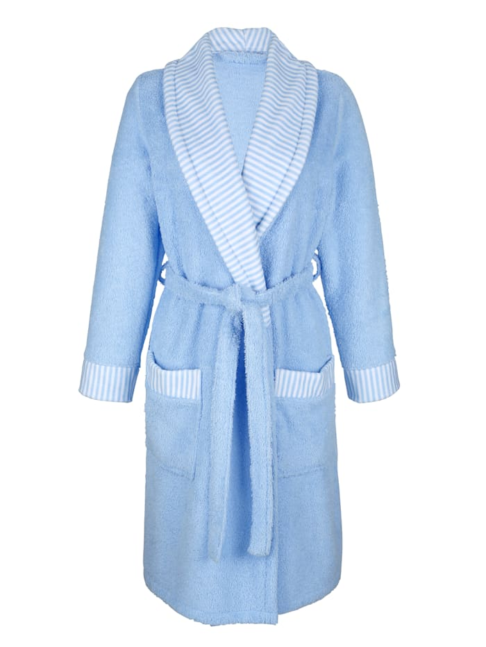 MONA Robe de chambre à bordures rayées, Blanc/Bleu