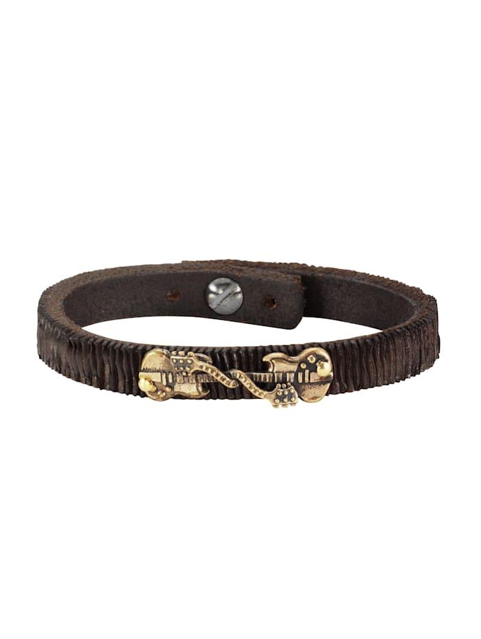 nox Armband Edelstahl 19,5-21cm Glänzend, braun