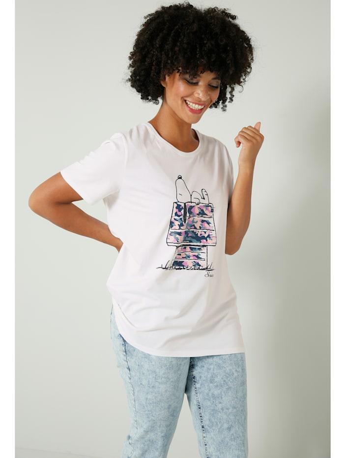 Angel of Style Shirt aus Baumwoll-Stretch Material, Weiß