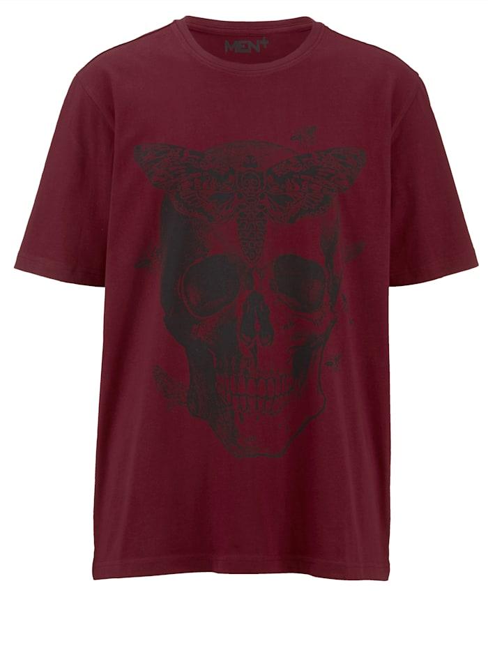 Men Plus T-shirt med dödskalletryck, Röd