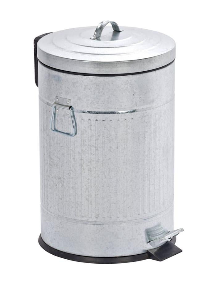 Wenko Treteimer New York Easy Close 20 Liter, Absenkautomatik, Silber, Einsatz: Schwarz