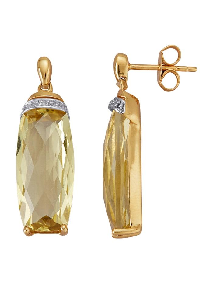 Amara Pierres colorées Boucles d'oreilles en or jaune 585, Jaune