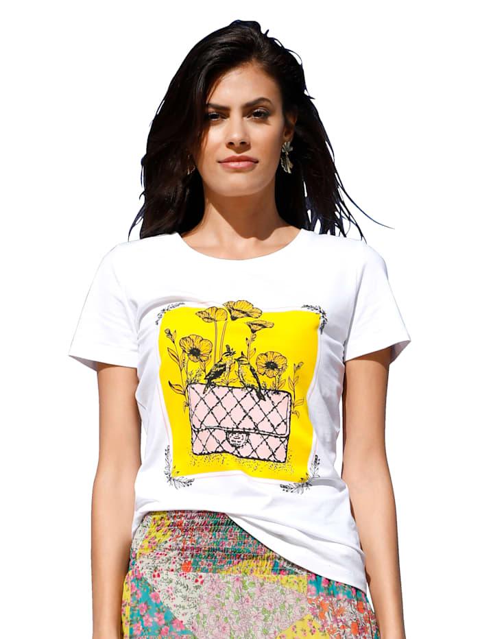 AMY VERMONT Shirt mit Druckmotiv, Weiß/Gelb
