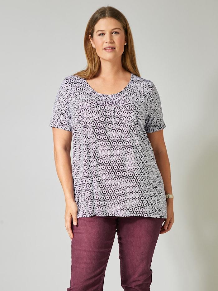 Janet & Joyce Shirt mit Allover-Print, Aubergine/Weiß