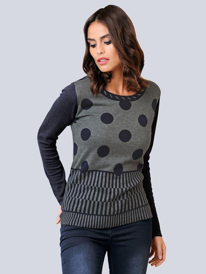 Pullover im Punkte -Streifen-Mix