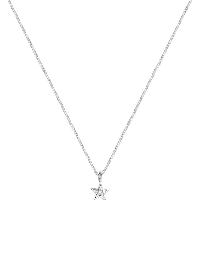 Halskette Stern Kristalle 925 Sterling Silber