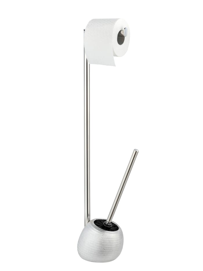 Wenko Stand WC-Garnitur Polaris Juwel, Silber, aus hochwertiger Keramik und rostfreiem Edelstahl, Silber
