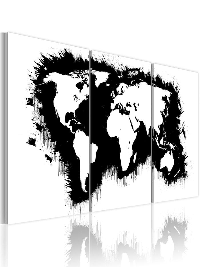 artgeist Wandbild Weltkarte in Schwarz und Weiß, schwarz-weiß