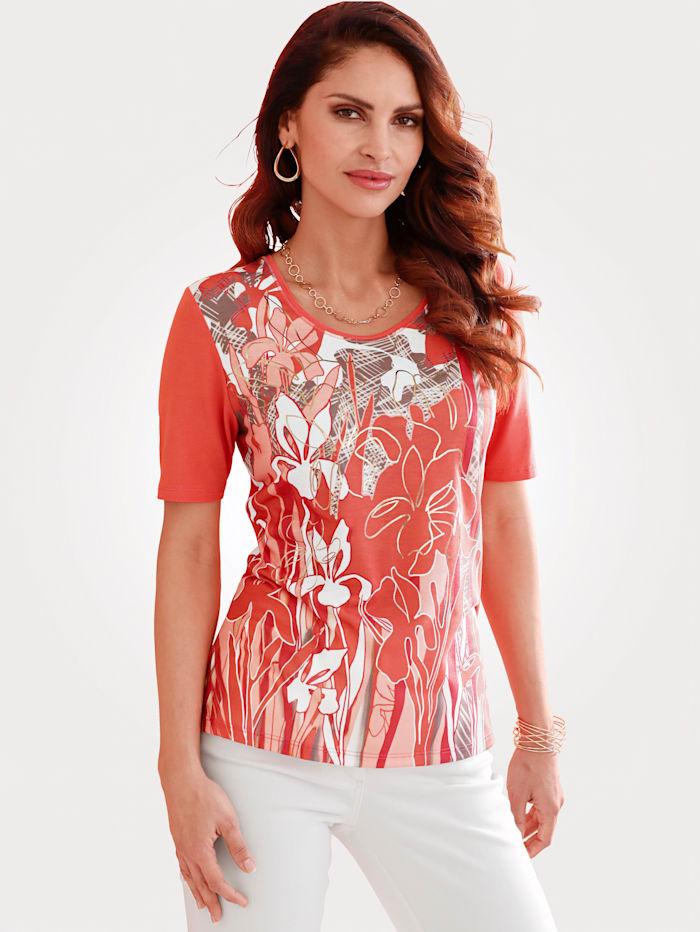 Barbara Lebek T-shirt à imprimé placé, Corail/Coloris or